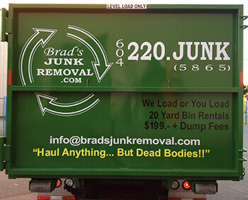 Back Side of Brad's Junk Removal Dumpster Richmond BC