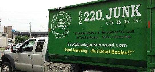 Truck with Dumpster Bin - Brad's Junk Removal