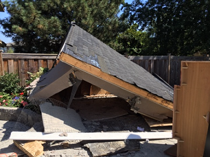 Dismantling of a garage in Kerrisdale, Vancouver